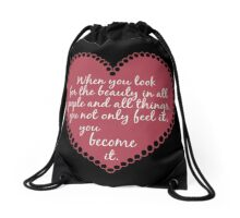 Inspirational Beauty Quote Drawstring Bag