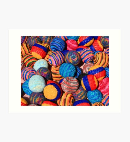 Knit Balls in Many Colors Art Print