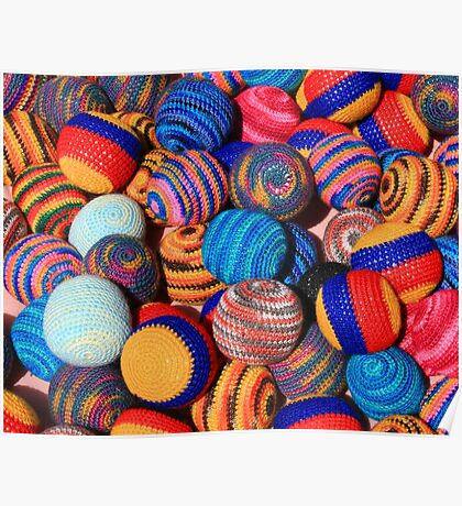 Knit Balls in Many Colors Poster