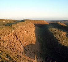 Undulations of an Iron Age Hill Fort (Maiden Castle, Dorset, England) by Mouldy67