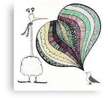 too tall colourful folk illustration  Canvas Print