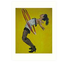 Burlesque woman with red hula hoops Art Print