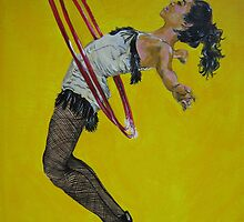 Burlesque woman with red hula hoops by bluegorilla