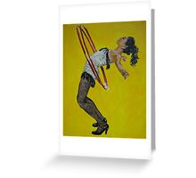 Burlesque woman with red hula hoops Greeting Card