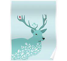 Blue Deer Poster
