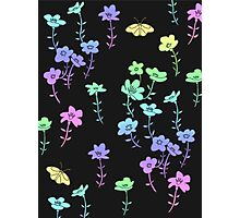 Flowers #6 - Rainbow Floral Pattern Photographic Print