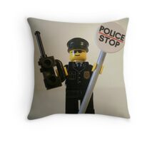 Classic Police Patrol Man Minifigure with Police Stop Sign Throw Pillow
