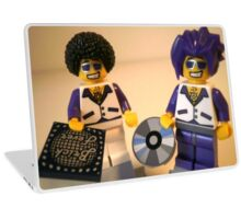 DJ Clubbing Tru and his Dad Disco Stu (with CD and Record) Minifigs, by 'Customize My Minifig' Laptop Skin