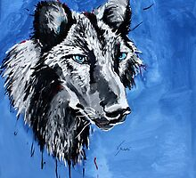 Black Wolf - Animal Art by Valentina Miletic by Valentina Miletic