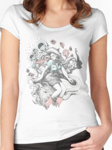 Cowgirl Drawing - Tattoo Style Women's Fitted Scoop T-Shirt