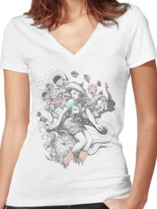 Cowgirl Drawing - Tattoo Style Women's Fitted V-Neck T-Shirt