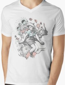 Cowgirl Drawing - Tattoo Style Mens V-Neck T-Shirt