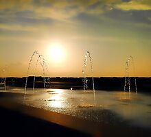 Sunset Sprinklers by photoshotgun