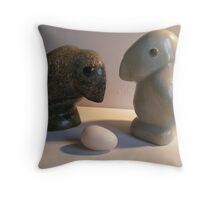 Soapstone carving of birds (Eggson and Grandpa) Throw Pillow