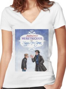 And a Happy New Year - BBC Sherlock Women's Fitted V-Neck T-Shirt