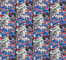 Pig Pen - Red White & Blue - Design 2 by Kevin J Cooper