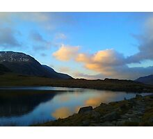 Sunset over a mountain lake Photographic Print