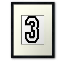 TEAM SPORTS, NUMBER 3, THREE, 3, THIRD, Competition Framed Print