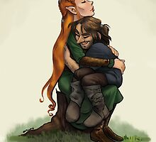 Kiliel: Tauriel and Kili from the Hobbit on a Tree Stump by livielightyear