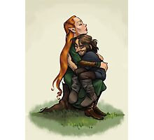 Kiliel: Tauriel and Kili from the Hobbit on a Tree Stump Photographic Print