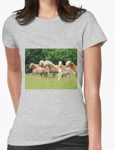 Running herd of Haflingers  Womens Fitted T-Shirt