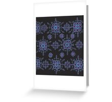 blue and mauve pattern on black Greeting Card