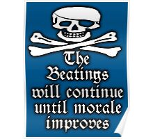 Pirate Morale, Skull & Crossbones, Jolly Roger, Buccaneers, Me Harties! On Navy Blue Poster