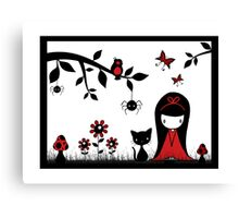 Little Red Ribbon Head Canvas Print