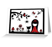Little Red Ribbon Head Greeting Card