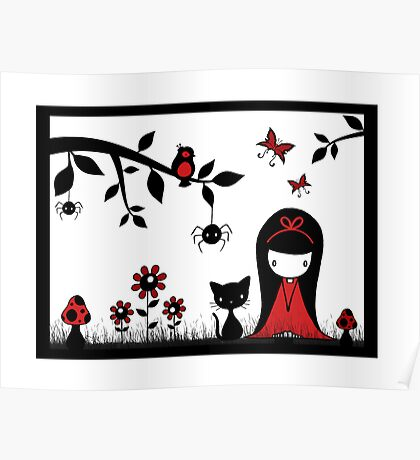Little Red Ribbon Head Poster