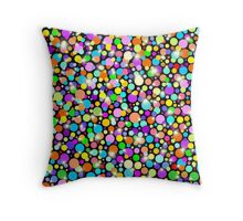 Psychedelic Colors Bright Polka Dots Throw Pillow