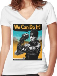 We Can Do It (Furiously) - light colors Women's Fitted V-Neck T-Shirt