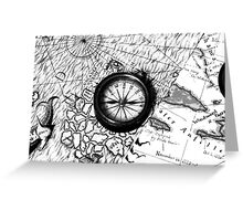 A Tale of 2 maps - B/W Greeting Card