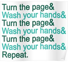 Turn the page & wash your hands Poster