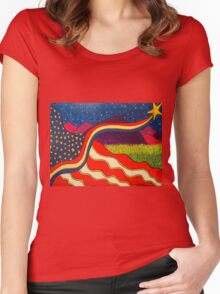Flag With Purple Mountains  Women's Fitted Scoop T-Shirt