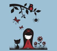 Little Red Ribbon Head Kids Tee