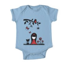 Little Red Ribbon Head One Piece - Short Sleeve