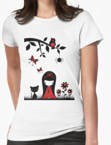 Little Red Ribbon Head Womens Fitted T-Shirt