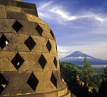Volcano and Stupa, Ancient Temple of Borobudur, Indonesia by Petr Svarc
