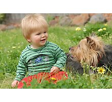 Tyler & Peppy - He sure loves dogs! Photographic Print