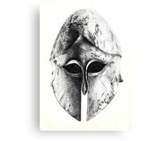Greek Helm in Pen and Ink Canvas Print