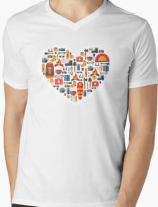 Hiking and tourism love Mens V-Neck T-Shirt