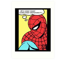 Spider Man - With Great Power Comes Great Responsability Art Print