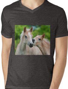 Cuddling Haflinger foals Mens V-Neck T-Shirt