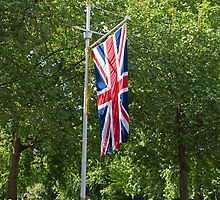 Union jack flag hangs in the mall during the State Opening Of Parliament London by Keith Larby