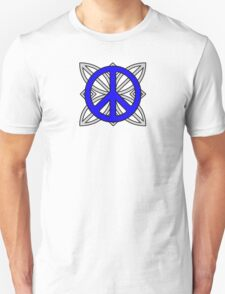 Peace Sign Blue over Gray T-Shirt
