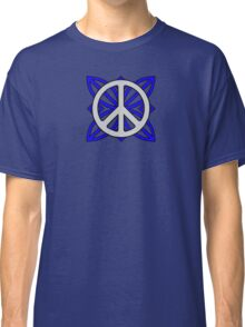 Peace Sign Gray over Blue Classic T-Shirt