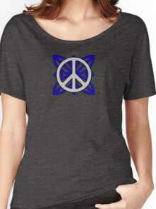 Peace Sign Gray over Blue Women's Relaxed Fit T-Shirt