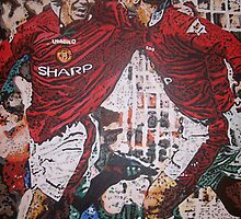 David Beckham and Eric Cantona - Pop art commission by Deborah Boyle