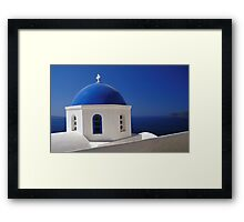 Whitewashed Church with Blue Dome, Santorini Framed Print